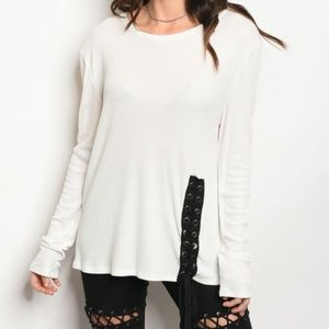 Sweaters - {SALE 2/$35} White lace long sleeves